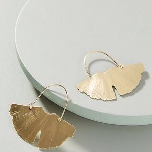 Anthropologie earrings Golden Ginkgo Hoop Earrings